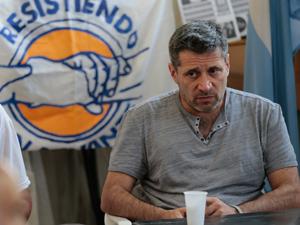 Víctor Santa María, el 3 de diciembre, en una reunión política en Villa Santa Rita.