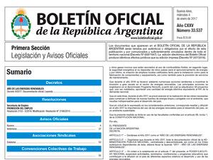 Boletín Oficial de la República Argentina.