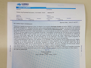 Tanto la CAPHyAI como FAPHRA enviaron sendas cartas documento a la producción del programa.