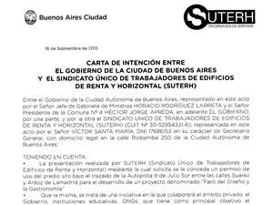 Carta de intención entre el Gobierno de la Ciudad de Buenos Aires y el SUTERH.