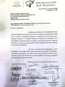Copia de la carta enviada al ENERGAS.