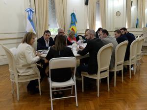 La senadora Nidia Moirano durante su reunión en la comisión de Asuntos Constitucionales y Acuerdos del Senado de la Provincia de Buenos Aires.