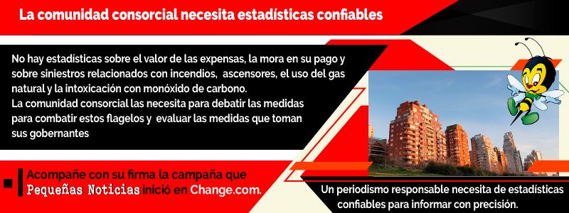 La comunidad consorcial necesita estadísticas confiables. Acompañe con su firma la campaña que Pequeñas Noticias inició en Change.com.