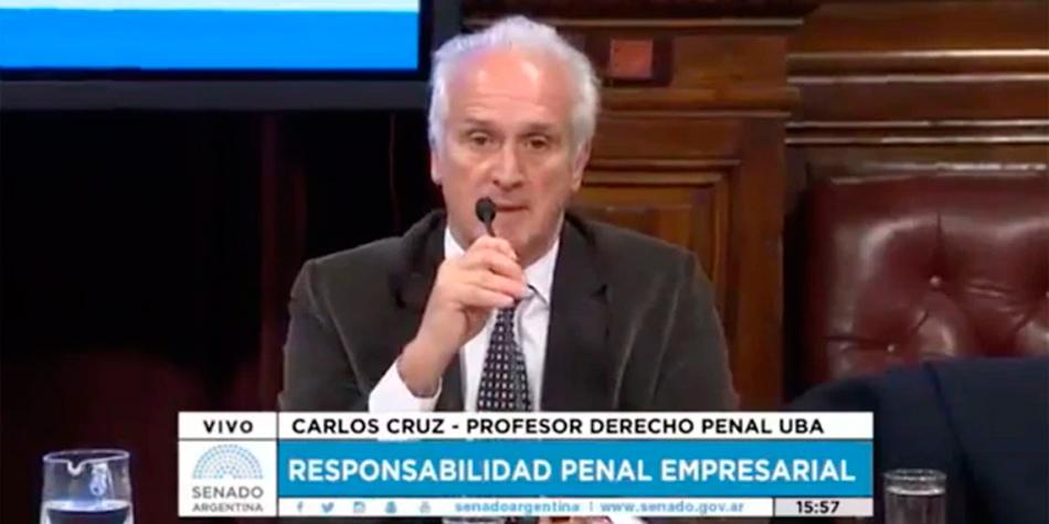 El Dr. Carlos Cruz durante su exposición en el Senado de la Nación sobre el proyecto de la ley penal empresaria en agosto de 2017.