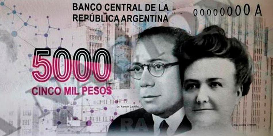 El billete de 5 mil pesos que motivó la denuncia y comenzó la polémica.