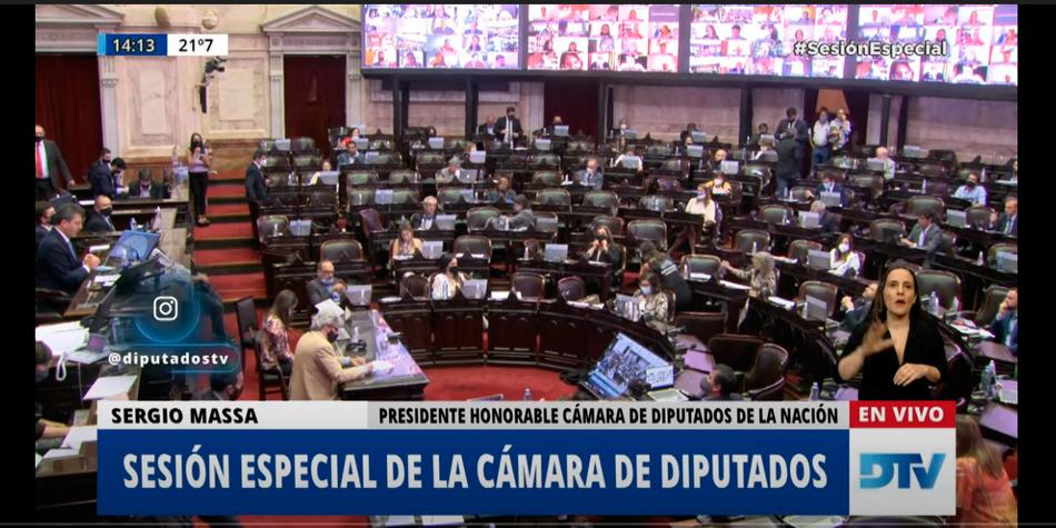 Sesión virtual en la Cámara de Diputados de la Nación, sólo estan presentes los presidentes de bloque y las autoridades de la HCD.