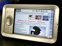 Pequeñas Noticias en una Palm LiveDrive 4 Giga con conección a Internet mediante Wi-Fi.