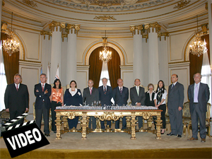 Autoridades del Colegio Único de Corredores Inmobiliarios de la Ciudad Autónoma de Buenos Aires durante la 6ª jura de matriculados.