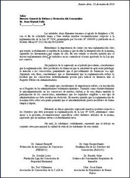 En la nota se hicieron recomendaciones sobre la reglamentación de 11 artículos de la ley 3.254.