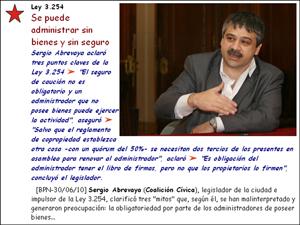 """Sergio Abrevaya salió a aclarar tres """"mitos"""" sobre la Ley 3.254 (Registro Público de Administradores)."""