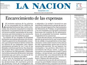 """Bajo el título """"Encarecimiento de las expensas"""" la Nación emite opinión (fotoilustración)."""