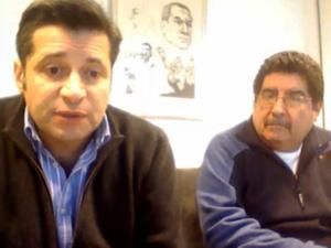 Víctor Santa María y Jorge Coronel durante el videochat que mantuvo con afiliados al gremio.