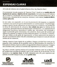 Solicitada publicada en Clarín y Nación.