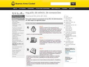 P�gina del Registro P�blico de Administradores en el sitio del Gobierno de la CABA.