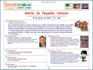 Boletín de Pequeñas Noticias del 29 de marzo de 2004.