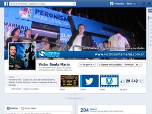 La página de Víctor Santa María en Facebook, una de las dos fuentes relevadas.