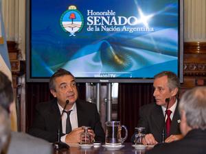 """El senador Eugenio """"Nito"""" Artaza y el presidente de la cámara empresarial FACARA, Andrés Pozzo."""