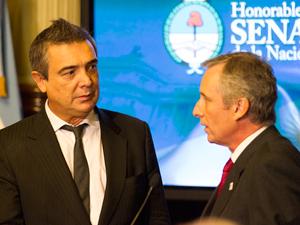 """El senador Eugenio """"Nito"""" Artaza y Andrés Pozzo,  presidente de FACARA."""