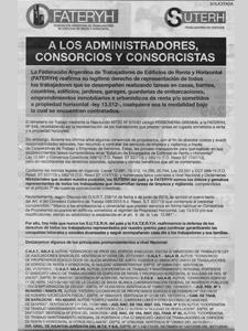 Solicidada publicada por SUTERH-FATERyH en el diario La Nación.