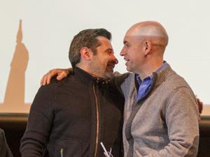 Víctor Santa María y Horacio Rodríguez Larreta luego de la firma del convenio de cooperación en la UMET en junio de 2014.