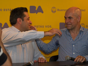 """Víctor Santa María y Horacio Larreta el 4 de abril de 2014 presentaron el programa """"Mis Expensas"""""""