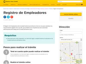 Sitio del Registro de Empleadores en la Web del Gobierno de la CABA.
