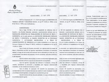 En el día de hoy el Ministerio de Trabajo proporcionó las 3 páginas que componen la Resolución 334/16.