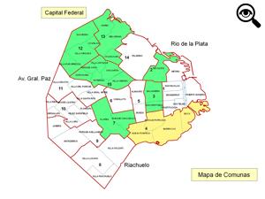 En verde las Comunas que ya cuentan con una Comisión de Propiedad Horizontal. En amarillo la que está en formación.