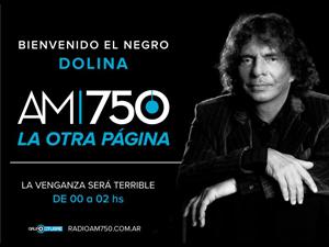 Anuncio del comienzo de programa diario de Alejandro Dolina en la AM 750 a partir del viernes 11.